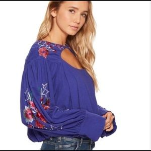 NWT Free People Lita Embroidered Cut out Top S